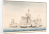 The English cutter 'Swan' taken by French privateers 'La Reciprocite' and 'Le Voltigeur', March 1807 by Houllets
