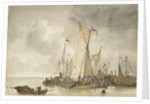 Dutch vessels off a jetty by Anthonie Waldorp