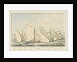 Yachts the property of Gentlemen belonging to the Yacht Clubs preparing to start off Greenwich College River Thames by J. Rogers Senior