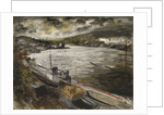 Ministry of War transport vessels in dry dock at Fowey, Cornwall by John Piper