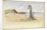 Scene at Teignmouth, with a figure looking out to sea leaning up against a beacon by George Pechell Mends