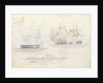 Four shipping studies, including of a frigate action by George Pechell Mends