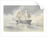 'Britannia' hove to in a calm to receive a boat, probably near Cape Carthage, flying the flag of Rear-Admiral Dundas, 27 April 1852 by George Pechell Mends