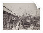 The 'Formidable' and other vessels unloading fish at Lowestoft by Edward J. Frost