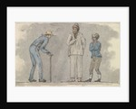 Three male figures, one bent over using a walking stick by Robert Streatfeild