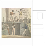 Deck scene with six figures including one steering at the ship's wheel by Robert Streatfeild