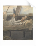 Cabin scene with man lying down reading a book by Robert Streatfeild