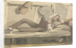 Full length view of man relaxing on a bunk reading a book by Robert Streatfeild