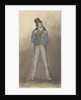 Man standing with legs astride, wearing black hat, blue jacket and tweed trousers by Robert Streatfeild