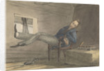 Cabin scene, man relaxing in a chair, with his feet up by Robert Streatfeild