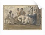 Four sailors relaxing on deck, one reading by Robert Streatfeild