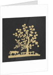 Silhouette of a tree and cow, cut out and stuck on a black background by unknown