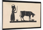 Silhouette of a woman with basket on her head, and a cow grazing, cut out and stuck on white background by unknown