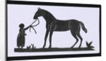 Silhouette of a woman leading a big horse, cut out and placed on white backround by unknown