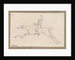 Small sketch of a jockey on a galloping racehorse by Robert Streatfeild