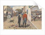 """Mr Rust, editor the """"Pacific Star"""", and his brother, Dr Rust, outside a saloon in Sacramento City [California], September 1851 by Edward Gennys Fanshawe"""