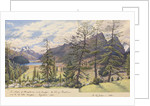 The villages of Silvaplana and Campfer, the Lake of Silvaplana and the Piz della Margna, Engadine [with] The Piz Julier, 1880 [Switzerland] by Edward Gennys Fanshawe