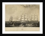 This print representing the East India Ship 'Vernon', Geo. Denny, Commander, on her voyage out, fitted with a Steam Engine of 30 horse power, passing HM ships Edinburgh & Blenheim 74 beating down Channel on the 21st of September 1839 off Benbridge [sic, i by W. O. Geller
