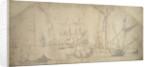 An English yacht at anchor furling sail by Willem van de Velde the Elder