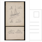 Seven illustrations on two cards regarding article on 'Trows ' in Mariner's Mirror by Robert Morton Nance