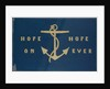 Sledge flag with anchor design and embroidered 'Hope On' 'Hope Ever' by Lady Jane Franklin