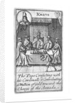 1588 Armada Playing Cards, Knave of Hearts. 'The Pope consulting with his Cardinalls & Contributing a Million of Gold towards the Charge of the Armada' by unknown