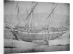 A brigantine and brig grounded with lines ashore. Inversed digital file to create b&w positive by Calvert Richard Jones