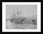 Port quarter view of the barque 'Cobre' (1844) dried out at Swansea. Inversed digital file to create b&w positive by Calvert Richard Jones