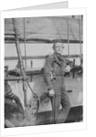 An unidentifed naval officer(?) standing by the belaying pin rail on the port side of the 80-gun three-decker HMS 'Superb' (1842). Inversed digital file to create b&w positive by William Henry Fox Talbot; Nicolaas Henneman