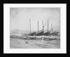 A view of Naples from the east with lateen-rigged ships drawn up on the shore. Inversed digital file to create b&w positive by Calvert Richard Jones
