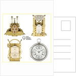 A compilation image featuring John Harrison's timepieces, H1 (ZBA0034), H2 (ZBA0035), H3 (ZBA0036) and H4 (ZBA0037) by National Maritime Museum