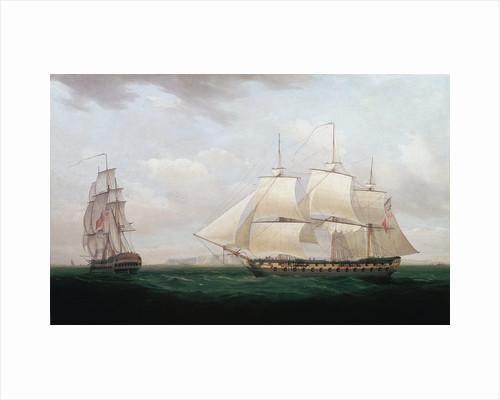 Two East Indiamen off a Coast, Thomas Whitcombe, c1850 by Thomas Whitcombe