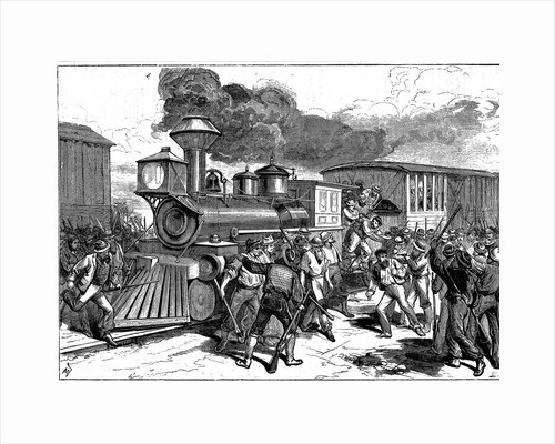 Riot by railroad workers at Martinsburg on the Baltimore-Ohio Railroad, USA, 1877 by Unknown