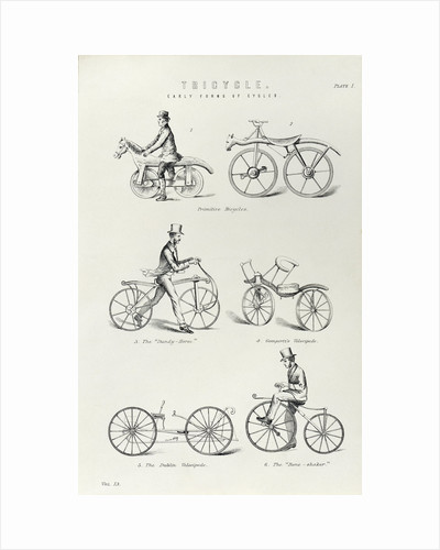 Six early forms of bicycle, c1870 by Unknown