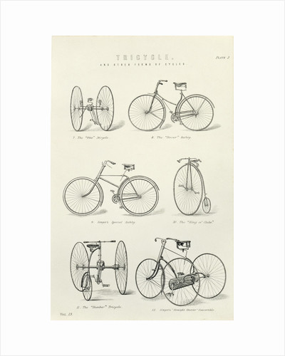 Six early forms of bicycles and tricycles, 19th century by Unknown