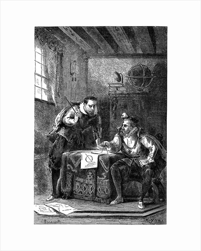 Kepler and Brahe at work together (c1600), c1870 by Anonymous