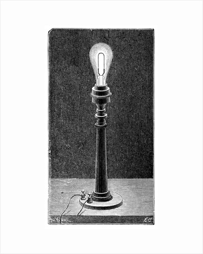 Edison's incandescent light globe in a table lamp fitting, 1891 by Unknown