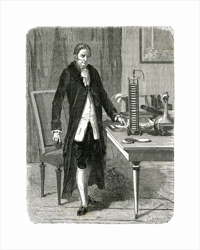 Alessandro Volta, Italian physicist, demonstrating his electric pile (battery), c1800 (c1870) by Unknown