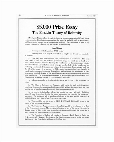 Prize offered in Scientific American, October 1920, for an essay on Einstein's theory of relativity by Unknown