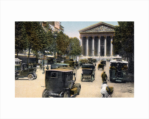 Rue Royale and the Madeleine, Paris, with cars and a motorbus on the street, c1900 by Unknown