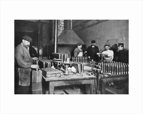 Filling shrapnel shells in a British munitions factory, World War I, 1914-1918 by Unknown