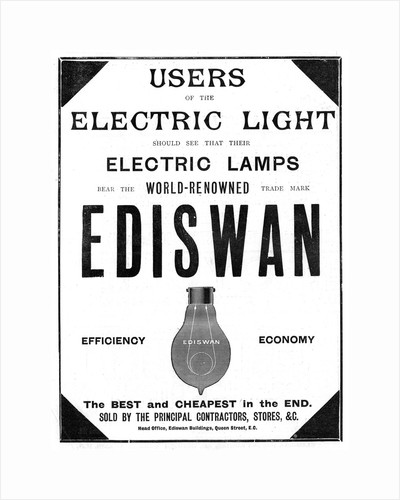 Advertisement for Ediswan incandescent light bulbs, 1898 by Unknown