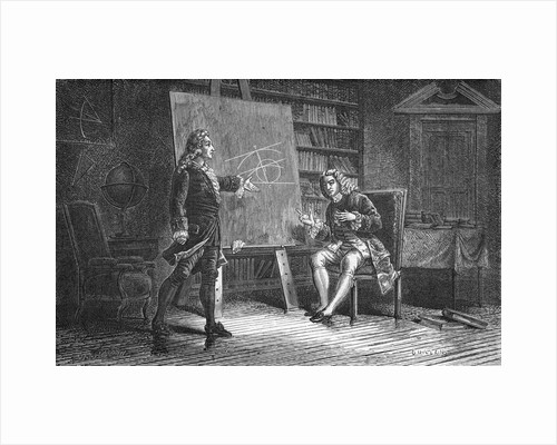 Jean and Jacques Bernoulli working on geometrical problems, 18th century, (1874) by Unknown