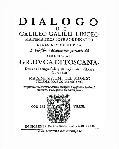Title page of Dialogo, by Galileo, 1632 by Unknown