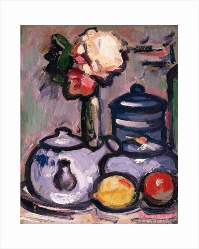 Still Life: Teapot with Flowers and Fruit by John Duncan Fergusson
