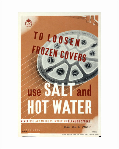 To loosen frozen covers use salt and hot water. Never employ methods involving flame or causing sparks. Read Rg 41 page 7 by Stan Krol