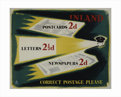 Inland postcards 2d, letters 2�d, newspapers 2d, correct postage please by Peter Huveneers