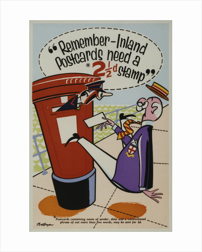 Remember inland postcards need a 2�d stamp by Probyn