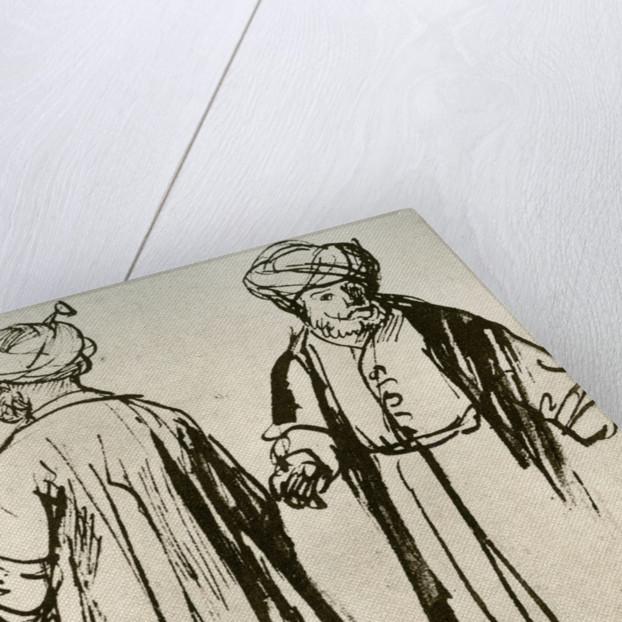 Two Turks Walking by Rembrandt Harmensz van Rijn