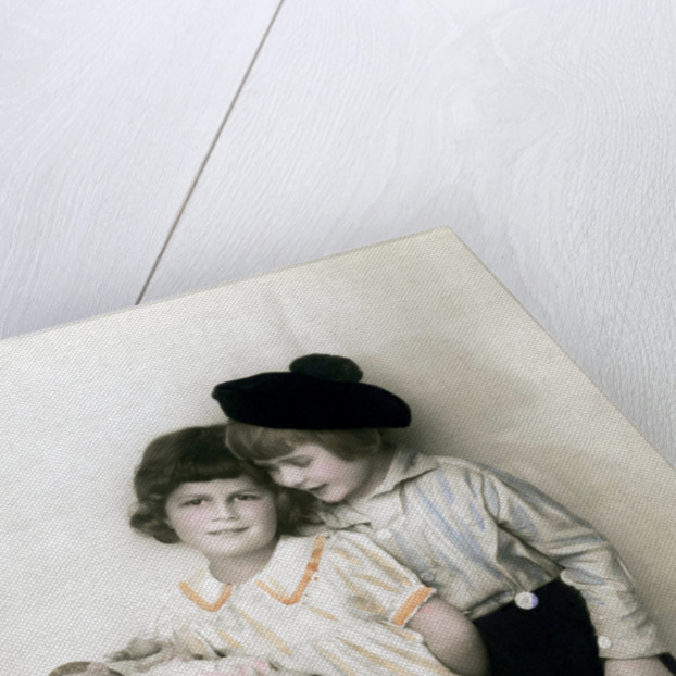 A young girl and boy by Anonymous